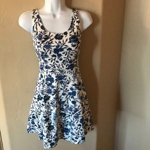 Divided Dresses - h&M blue flower skater dress